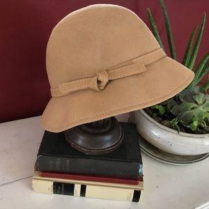Tan Wool Cloche Hat